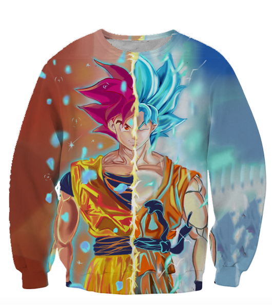 Dragon Ball Super Z Sweaters - Super Saiyan God Red and Blue Goku Sweatshirt - 360 3D Clothing-Hoodie Time - Anime and Gaming Hoodies