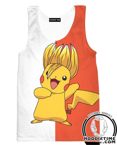 Super Saiyan Pikachu Tank Top - Pokemon x Dragon Ball Cross Gym Shirts-Hoodie Time - Anime and Gaming Hoodies