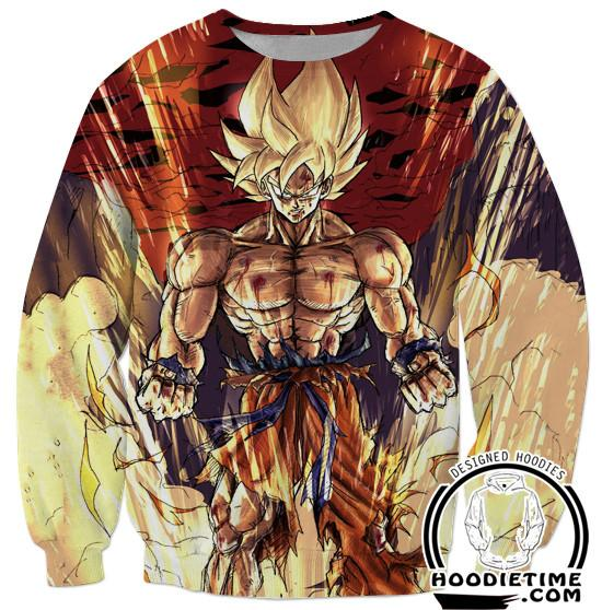 Super Saiyan Shirtless Goku Sweatshirt - Dragon Ball Z Sweaters Full Printed Clothing-Hoodie Time - Anime and Gaming Hoodies