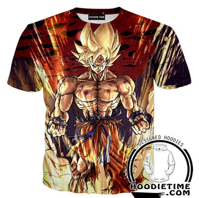 Super Saiyan Shirtless Goku T-Shirt - Dragon Ball Z Shirts Full Printed Clothing-Hoodie Time - Anime and Gaming Hoodies