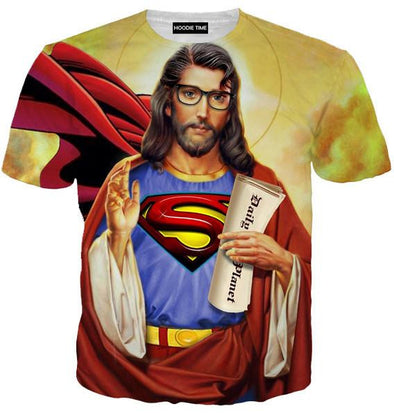 Superman Jesus T-Shirt - 360 Printed Clothing-Hoodie Time - Anime and Gaming Hoodies