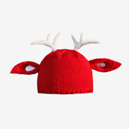 Cute Christmas Reindeer With Ears - Pullover Hat - Wool Blend - Red or blue-Hoodie Time - Anime and Gaming Hoodies