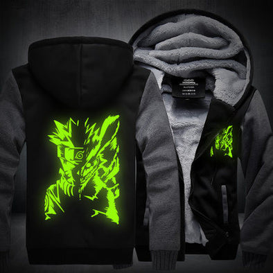 Naruto - Glow in the Dark Naruto Hoodie - Warm Fleece Zip-up Hoodie-Hoodie Time - Anime and Gaming Hoodies