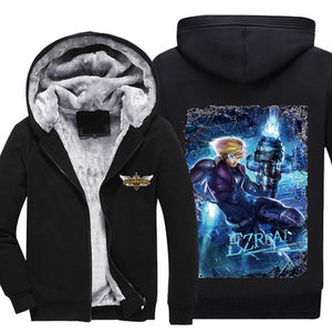 League of Legends - Ezreal - Winter Zip-up Fleece Hoodie-Hoodie Time - Anime and Gaming Hoodies