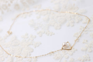 14k Gold Filled Hand Made Jewelry Gift - Delicate Gold Triangle with A Tiny Pearl Necklace-Hoodie Time - Anime and Gaming Hoodies