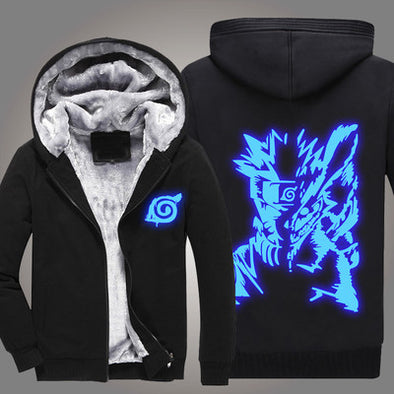 Naruto - Glow in the Dark Blue Naruto Hoodie - Warm Zip-up Hoodie-Hoodie Time - Anime and Gaming Hoodies