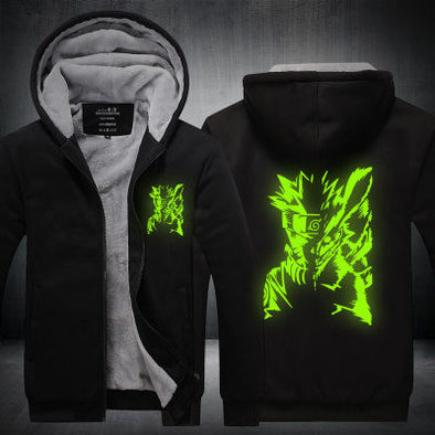 Naruto - Naruto Glow in the Dark Hoodie - Warm Black Zip-up Hoodie