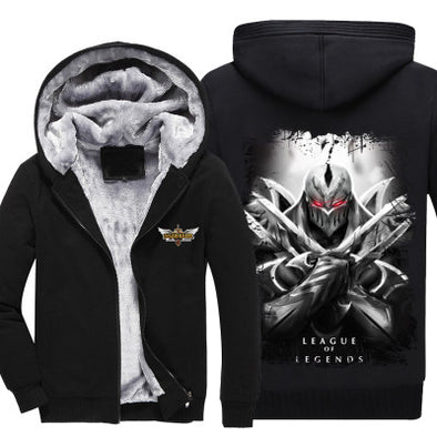 League of Legends - Zed - Winter Zip-up Fleece Hoodie-Hoodie Time - Anime and Gaming Hoodies