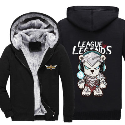 League of Legends - Volibear - Winter Zip-up Fleece Hoodie-Hoodie Time - Anime and Gaming Hoodies