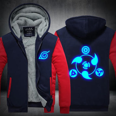 Naruto - Glow in the Dark Sharingan Hoodie - Warm Fleece Zip-up Hoodie-Hoodie Time - Anime and Gaming Hoodies