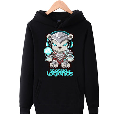 League of Legends - Cute Volibear - Pullover Hoodie - Black - White-Hoodie Time - Anime and Gaming Hoodies
