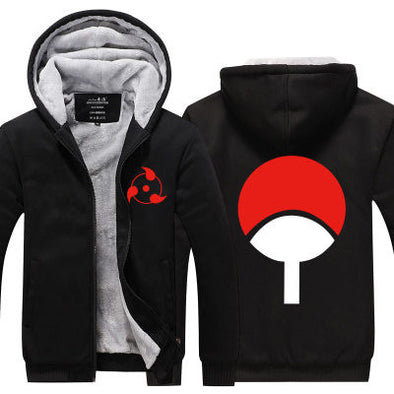 Naruto - Symbol Of Uchiha Clan Fleece Hoodie - Warm Black Zip-up Hoodie