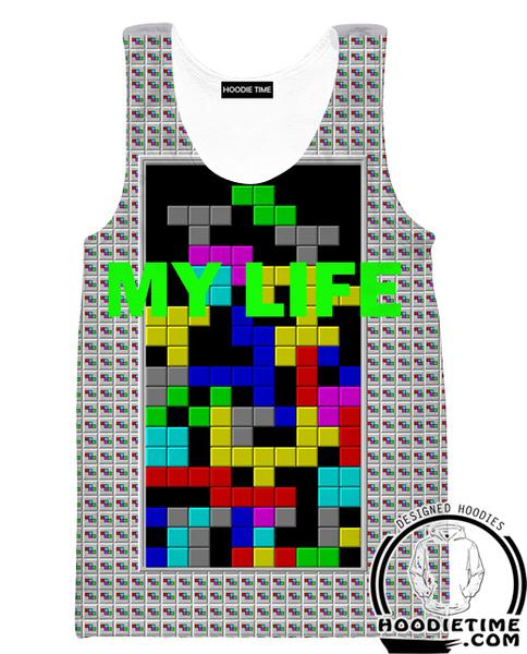 Tetris My Life Tank Top - Funny Tetris Gym Gaming Shirts
