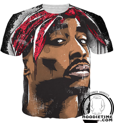 Tupac Face T-Shirt 2pac Black - 3D Clothing - Hip-Hop Shirts-Hoodie Time - Anime and Gaming Hoodies