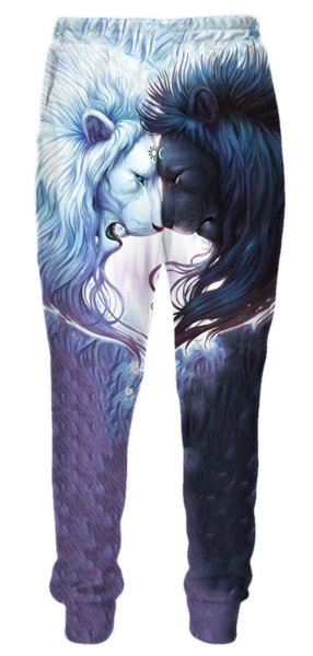 Yin and Yang Loving Lions Sweatpants - 3D Pants and Clothing-Hoodie Time - Anime and Gaming Hoodies