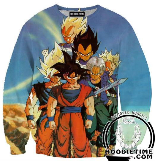 Z Warriors Goku, Trunks, Vegeta Sweatshirt - Dragon Ball Z Sweaters - 3D Printed DBZ Clothing-Hoodie Time - Anime and Gaming Hoodies