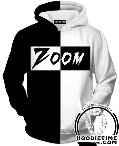 Black and White Zoom Hoodie - Supreme Style 360 Printed Hoodie-Hoodie Time - Anime and Gaming Hoodies