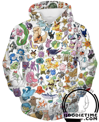 Pokemon - All 151 Pokemon Hoodie - Pullover 3D Hoodie-Hoodie Time - Anime and Gaming Hoodies