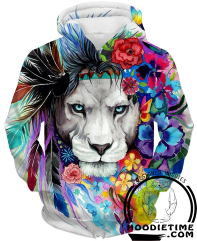 Colorful and Prideful Lion Hoodie - 3D Pullover Hoodies and Clothing-Hoodie Time - Anime and Gaming Hoodies