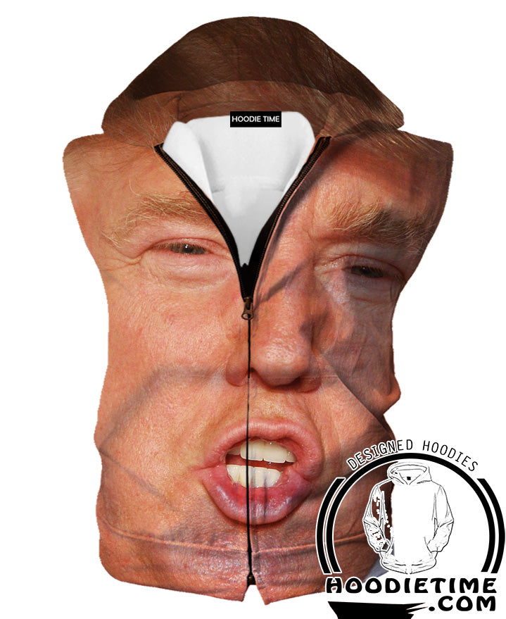 Donald Trump Face Sleeveless Hoodie - Funny Donald Trump Hooded Tank-Hoodie Time - Anime and Gaming Hoodies