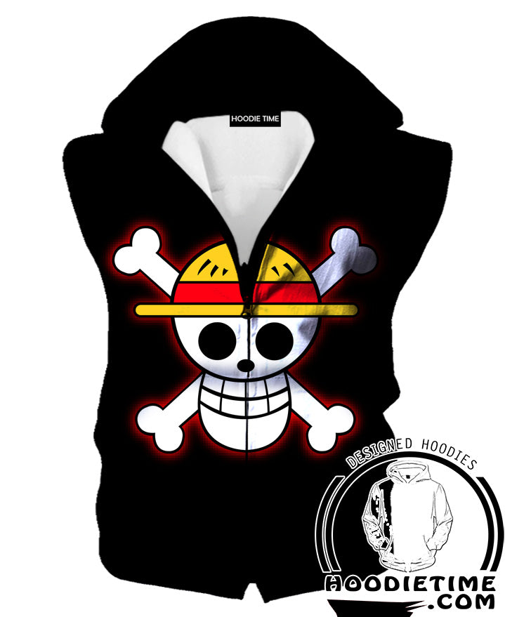 One Piece Symbol Black Hooded Tank One Piece Clothes Hoodie Time