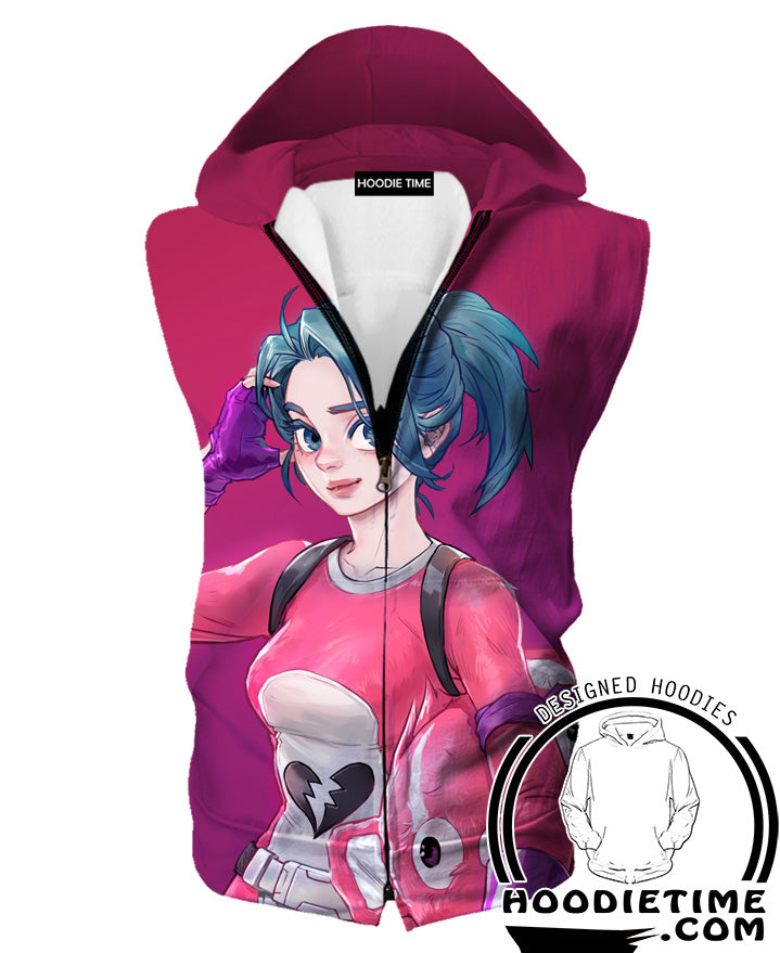 Fortnite Hooded Tank Top - Fortnite Battle Royale Pink Hoodie Tanks Gaming Clothing-Hoodie Time - Anime and Gaming Hoodies