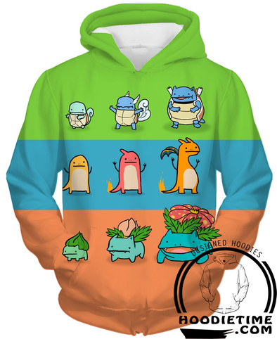 Pokemon - Charmander, Squirtle, Bulbasaur - Pullover 3D Hoodie-Hoodie Time - Anime and Gaming Hoodies