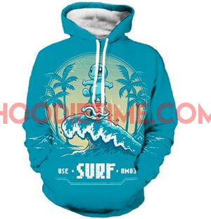 Cute Pokemon Squirtle 3D Pull-Over Hoodie - Time to Surf!-Hoodie Time - Anime and Gaming Hoodies