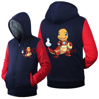 Pokemon - Fleece Zip-up Hoodies - Charmander in ironman suit, Pikachu and more.-Hoodie Time - Anime and Gaming Hoodies