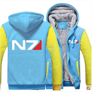 Mass Effect N7 - Zip-up Fleece Hoodie Jacket - Baby blue and Yellow-Hoodie Time - Anime and Gaming Hoodies