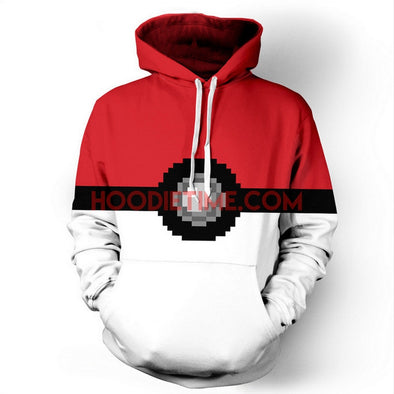 Pokemon - Pokeball - 3D Pullover Hoodie-Hoodie Time - Anime and Gaming Hoodies