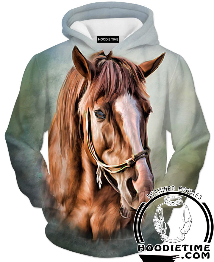 Beautiful Brown Horse Hoodie   Animal 3D Hoodies   Double Printed Clothing