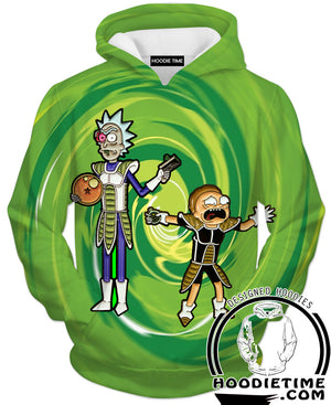 Rick and Morty Hoodies - Dragon Ball Cross Hoodie - Full Printed Clothing-Hoodie Time - Anime and Gaming Hoodies