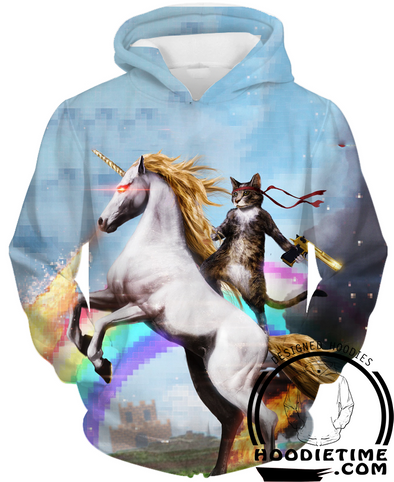 Cat riding rainbow unicorn 3d hoodie hoodies clothes