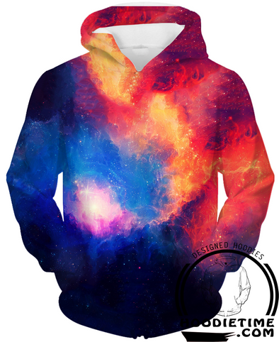 Galaxy Space Red and blue colorful 3d Hoodie hoodies