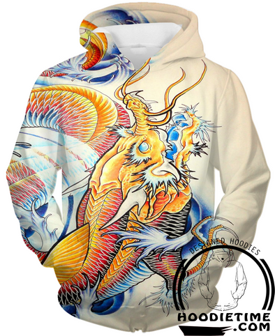 Japanese Gold Fish Dragon Hoodie - Pullover 3D Hoodie-Hoodie Time - Anime and Gaming Hoodies