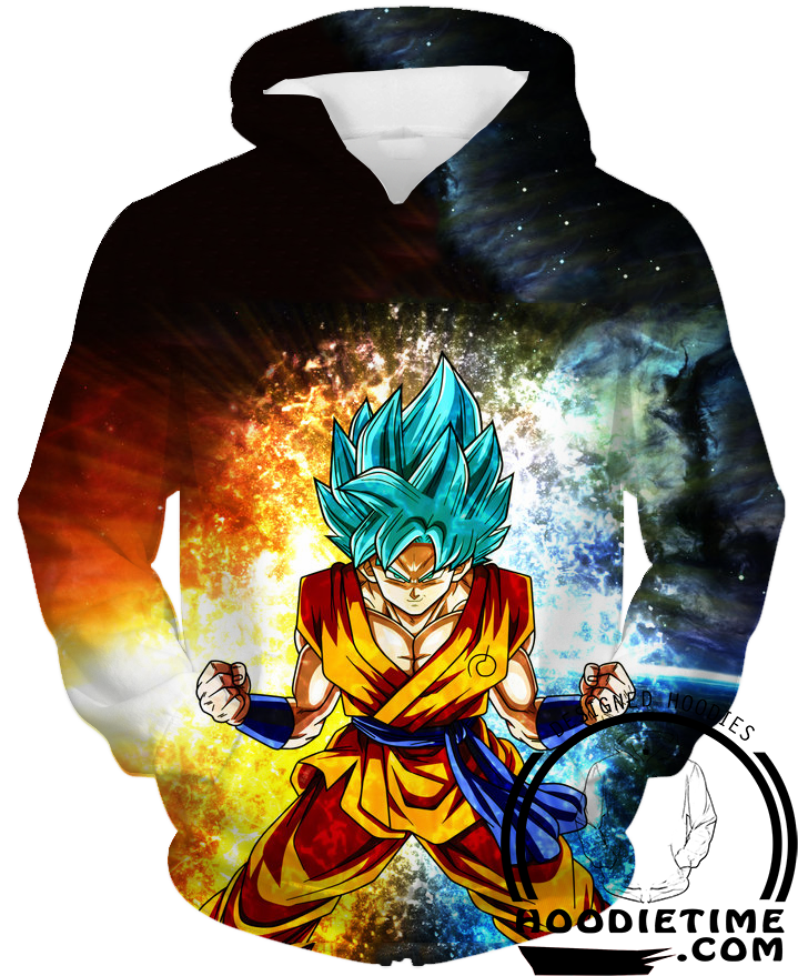 Dragon Ball Z Hoodies - Super Saiyan Blue Goku Hoodie SSB - DBZ 3D Clothing-Hoodie Time - Anime and Gaming Hoodies