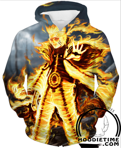 Naruto - Naruto Nine Tails Battle Mode Hoodie - Pullover Hoodie 3D-Hoodie Time - Anime and Gaming Hoodies