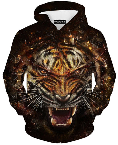 Fierce tiger full print hoodies hoodie 360 clothing