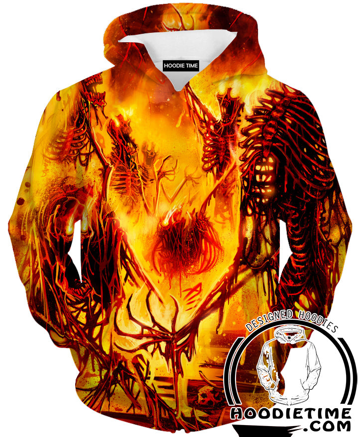 Skeleton Burning Fire Hoodie   Fantasy Hoodie And Clothing