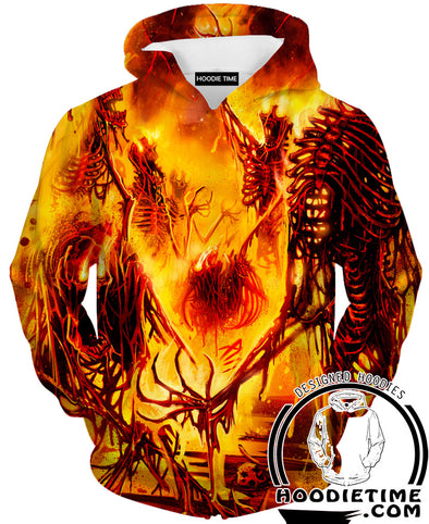 Fire Burning Hoodie Cool sick