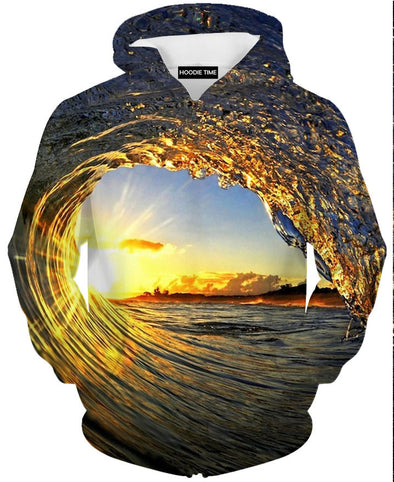 Sunshine Ocean Wave Hoodie - 3D Pullover Hoodies and Clothing-Hoodie Time - Anime and Gaming Hoodies