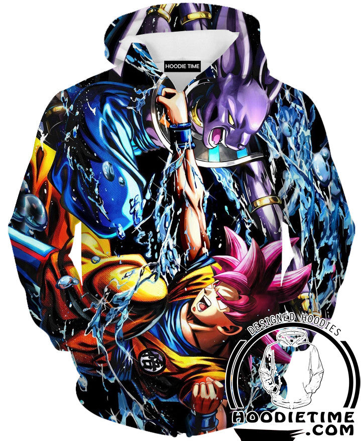 Beerus vs super saiyan god goku hoodie hoodies