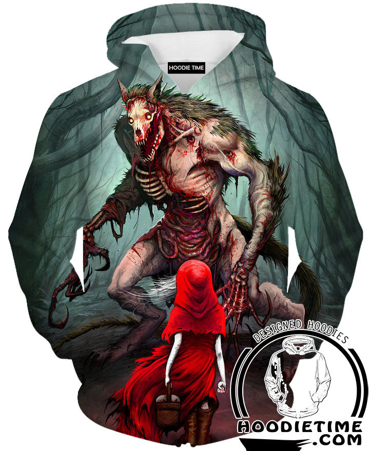 Little Red Riding Hoodie And The Wolf Hoodie   Fantasy Hoodies   3D Clothing