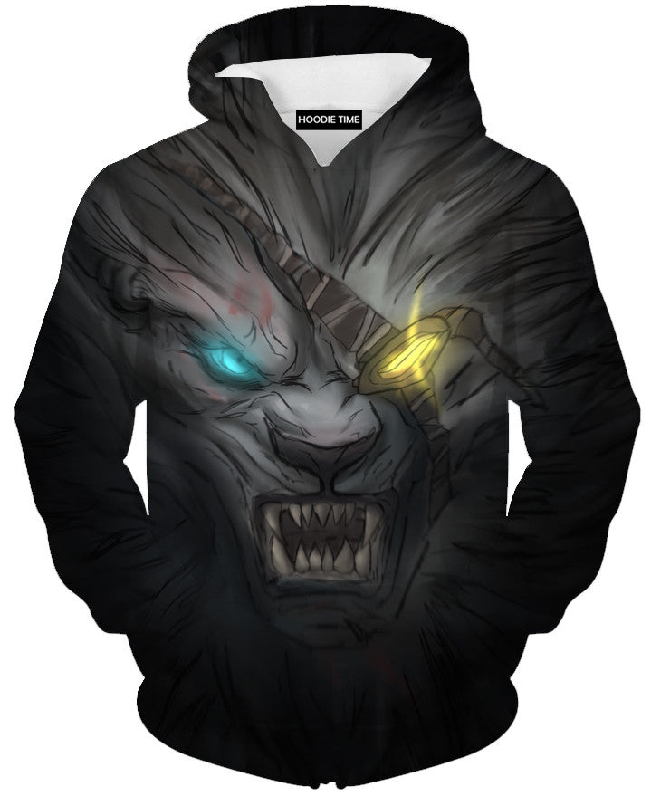 League Of Legends Rengar Face Hoodie - 3D Pullover Clothing - LoL Hoodies-Hoodie Time - Anime and Gaming Hoodies