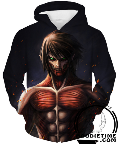 Attack on Titan Hoodies - Eren Yeager Colossal Titan Hoodie - 360 Printed Clothing-Hoodie Time - Anime and Gaming Hoodies