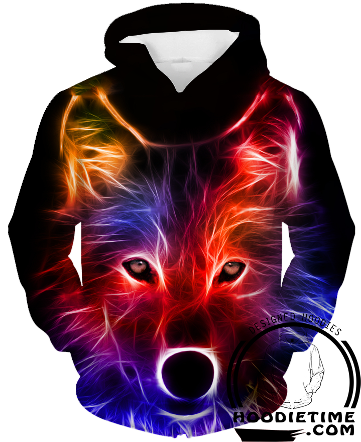 Red And Blue Cool Wolf Hoodie