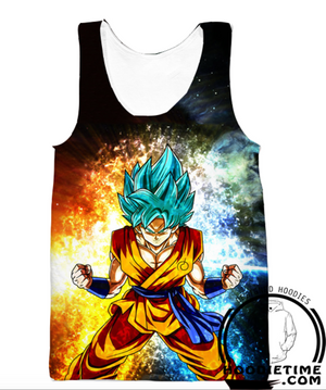 Dragon Ball Z Tank Tops - Super Saiyan Blue Goku Gym Shirt SSB - 360 3D Clothing-Hoodie Time - Anime and Gaming Hoodies