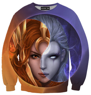 League Of Legends Diana and Leona Sweatshirt - 3D Sweaters - LoL Clothing-Hoodie Time - Anime and Gaming Hoodies
