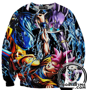 beerus vs super saiyan god goku red sweatshirt sweater